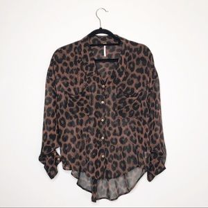 Free People Animal Print Sheer Button Down Blouse